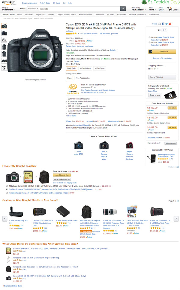 Amazon Product Page User Interface